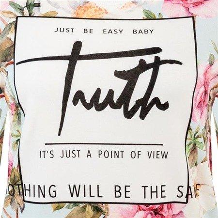 BLUZA PRINT W KWIATY BŁĘKITNO-RÓŻOWA (TRUTH)