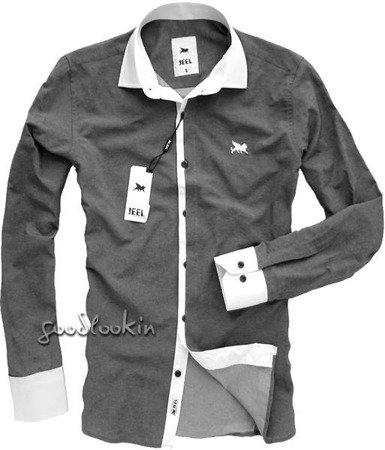 ELEGANCKA MĘSKA KOSZULA JEEL Jeans GRAFITOWA (3094)